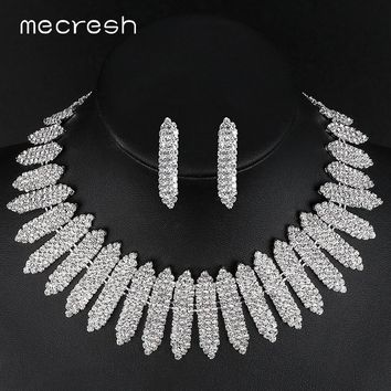 Mecresh Crystal African Wedding Jewelry Sets for Bride Clear Geometric Rhinestone Necklace Set 2018 Engagement Jewelry MTL477
