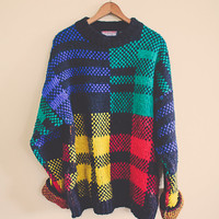 90s Sweater  Red Black Yellow Blue Green Tunic Jumper  Size XL Extra Large Chunky Slouchy Cosby Crazy Geometric Multi Color Crazy Oversized