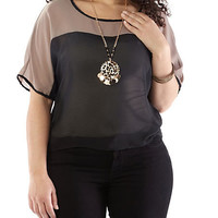 Plus-Size Colorblock High-Low Top with Necklace - Rainbow