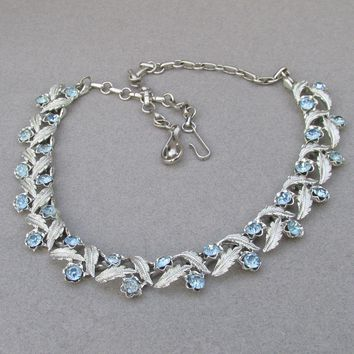 Signed CORO 1950's Vintage Baby Blue Rhinestone Rhodium Plated Silver LEAF Link Necklace