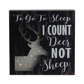 "8""x8"" LED Lighted Fiber Optic Deer ""To Go to Sleep I Count Deer Not Sheep"" Wall Art Decoration"
