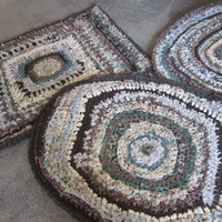 OOAK Custom Order Area Rug Crocheted Rag Rug Repurposed Fabric Cottage Chic