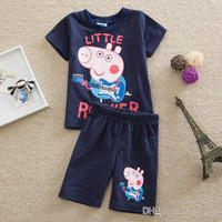 Cartoon navy color boys outfit short sleeve Tshirt tops+shorts pant baby boy clothing set children casual suit kids cotton sets