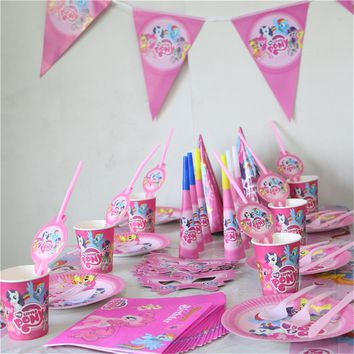 my little pony cartoon 233pcs/lot 20people Family Party birthday decoration party set supplies cup plate flag tablecloth favor