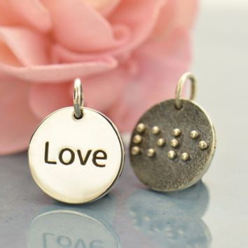 Sterling Silver Braille Love Charm