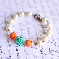 Bridesmaids Gifts Mint Rose Bracelet Flower Bracelet Flower Girl Gift Childrens Jewelry Ivory Pearls - Handmade Wedding Accessories