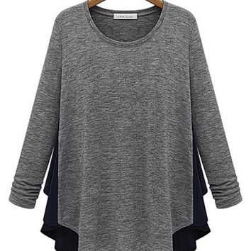 Gray Stitching Long Sleeve Cotton Casual T-shirt