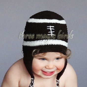 Crochet Football Boy Hat, Adorable Baby Toddler Boy Hat, Beanie, Earflap Hat, Photo Prop, Ready to Ship