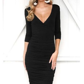 Zara Long Bodycon Dress - Black