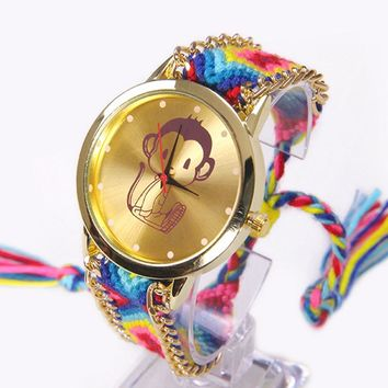 Rainbow Geneva Watch Women Little Funny Monkey wristwatch Lace Chain Braid Reloj Girl Teen Kids Fabric Retro Ethnic