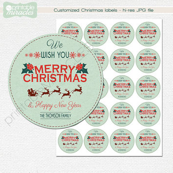 Round Christmas labels, Printable christmas gift tags, Customized holiday gift tag with Santa's sleigh, Digital sticker, Print your own