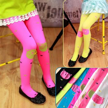 Kids Girls Colored Tights Velvet Candy Colors Cute Cat Fish Tights for Baby Children Pantyhose Stocking 80-130cm