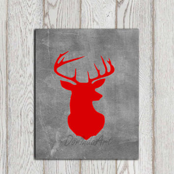Deer printable Red gray Stag head print Chalkboard poster art Home Decor Hunting bedroom wall art Forest Woodland Animal INSTANT DOWNLOAD
