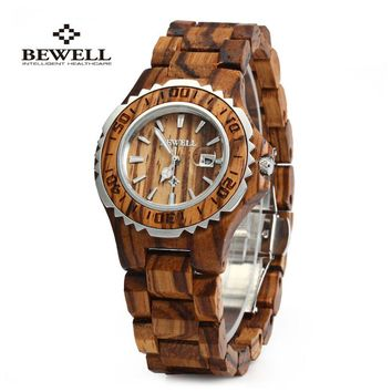 BEWELL Wooden Luxury Auto Date Quartz Watch