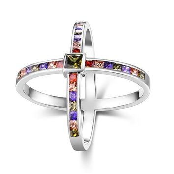 Rainbow Crystals Criss-Cross Statement Ring Set in White Gold
