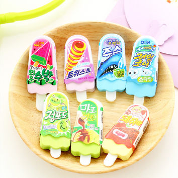 1 X novelty Ice Cream rubber eraser creative kawaii stationery school supplies papelaria gift for kids
