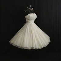 Vintage 1950's 50s White Ruched Chiffon Organza Taffeta Party Prom Wedding Dress Gown