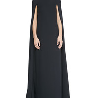 Valentino Silk Cape Gown