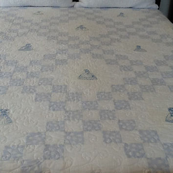 Southern Belle, Crinoline Lady, Blue Shabby Chic Handmade Quilt, Double 78 x 101 inches Free Shipping Canada and USA