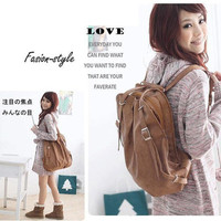 Hotsale Korean Style Girl's PU Leather Backpack Shoulders Colorful Handbag Q914