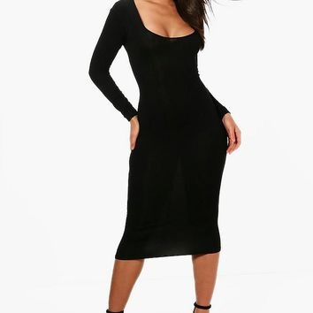 Arielle Square Neck Long Sleeved Bodycon Dress | Boohoo