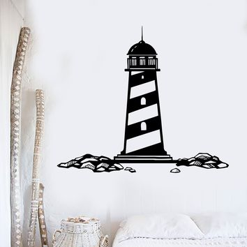 Vinyl Wall Decal Lighthouse Nautical Marine Sea Ocean Decor Stickers Unique Gift (ig3452)