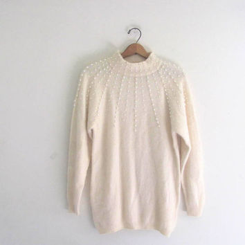 vintage off white beaded sweater. lambswool and angora sweater. size s