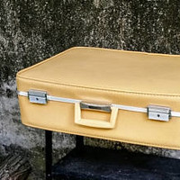 Vintage Towncraft Mustard Yellow 24 Inch Suitcase