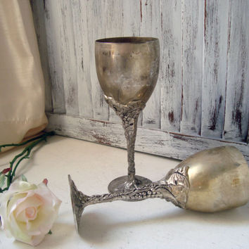 Vintage Silver Plate Goblets, Godinger Pair of Decorative Goblets, Shabby Chic Decor, Tarnished Serving Ware, Ornate Grape Vine Pattern