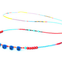Long Beaded Necklace - Layered Necklace - Beaded Tribal Necklace - Glass Bead Necklace - Drop Glass Necklace - Seed Bead Necklace
