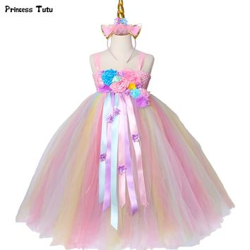 Girls Unicorn Tutu Dress Pastel Rainbow Princess Flower Girl Party Dresses Children Kids Birthday Halloween Unicorn Costume 1-14