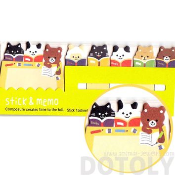 Bear Sheep and Kitty Cat Shaped Animal Memo Pad Post-it Index Sticky Tab Bookmarks