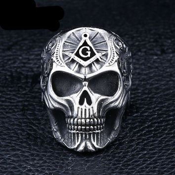 Masonic ring for men punk rock skull jewelry