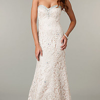 Lace Strapless Sweetheart Formal Dress