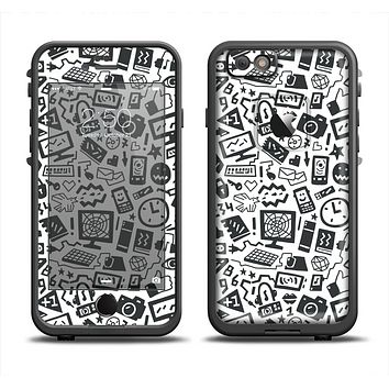 The Black & White Technology Icon Apple iPhone 6 LifeProof Fre Case Skin Set