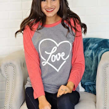* Evony Raglan Heart Love Top - Grey and Red - S to 2X