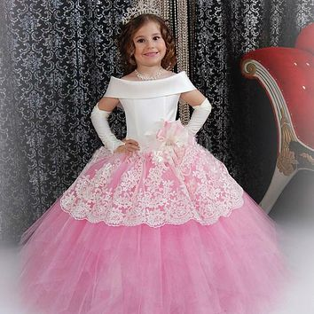 Custom Made White Satin Pink Puffy Toddler Ball Gown Girls Frock Design Abiti Da Comunione Vintage Lace Flower Girl Dresses 2017