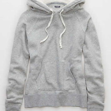 Aerie Fuzzy Hoodie, Medium Heather