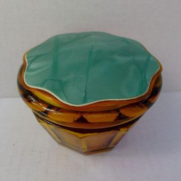 Amber Glass Vanity Powder Jar Box Celluloid Plastic Lid Vintage Paneled
