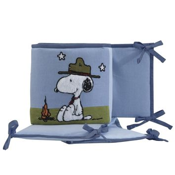 Lambs & Ivy Snoopy's Campout with Woodstock Blue 4-Piece Baby Crib Bumper