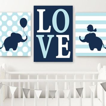 Boy ELEPHANT Nursery Wall Art, Canvas or Prints, Baby BOY Elephant Decor, Twin Boy Bedroom Decor, Navy Blue Elephant Wall Decor Set of 3