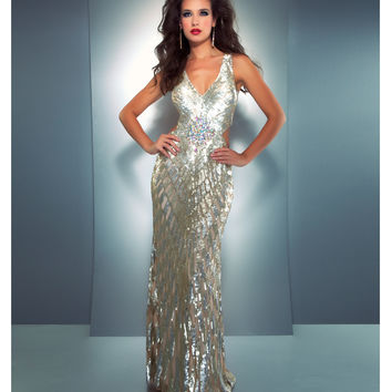 Mac Duggal 2013 Prom Dresses - Gold & Silver Sequin Gown with Criss Cross Back - Unique Vintage - Prom dresses, retro dresses, retro swimsuits.