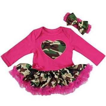 Baby Camo Camouflage Princess Dress Up Bodysuit Tutu Costume Headband Set