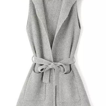 Light Grey Hooded Sleeveless Tie-Waist Knitted Sweater
