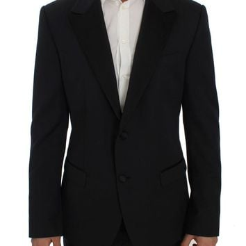 Blue Wool Silk Slim Fit Blazer Jacket