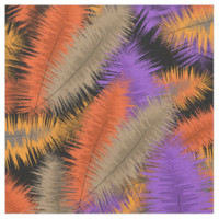 Beautiful Floating Feathers Fiery Autumn Colors Fabric