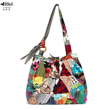 Unique Vintage Handbag Shoulder Crossbody Bag Women 2017 New Large Cotton Canvas Hippie Hobo Purse Patchwork Bags free shipping
