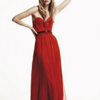 Red Prom Dress - Scarlet Chiffon Bustier Gown by | UsTrendy