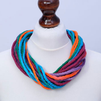 Multicolor fiber necklace in twisted style - colorful multi strand felt necklace made of soft wool - multistrand rope jewelry [N115]