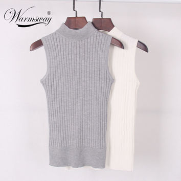 High Quality Summer Women Mock Neck Tank Top Turtleneck Sleeveless T-shirt Slim Knitted Vest Female Tee Knitwear WS-088